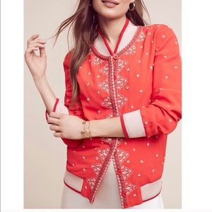 Anthropologie red embroidered bomber jacket NWOT